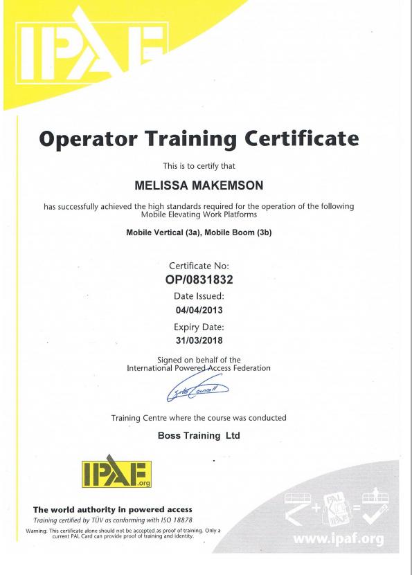 asbestos certificate certification training operator ipaf