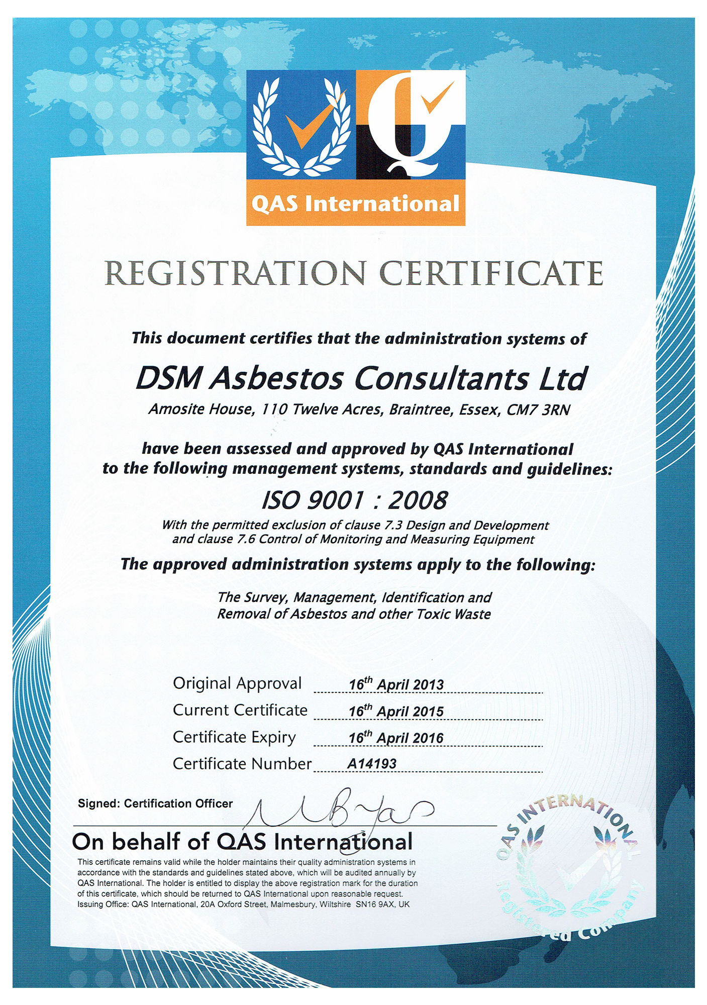 asbestos certificate certification